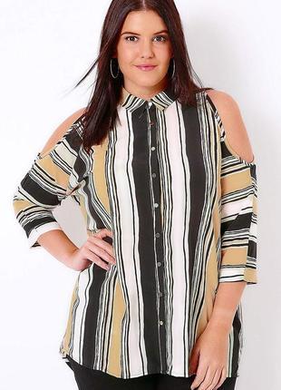Стильная полосатая шифоновая блуза с открытыми плечами yours 4xl 22 батал