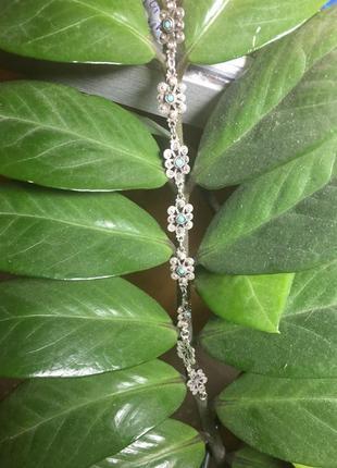 Красивый этнический браслет серебряный с бирюзой серебро 925 пробы