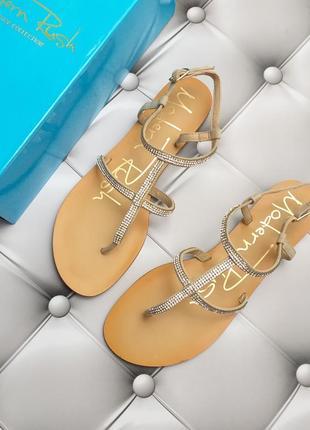 Modern rush сандалии босоножки бежевые замшевые с стразами бренд из сша