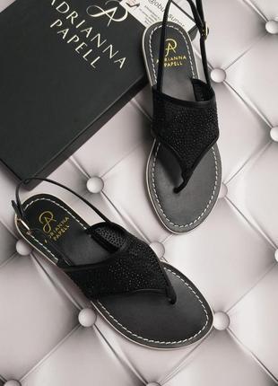 Adrianna papell оригинал сандалии черные шлепанцы кожаные с стразами бренд из сша