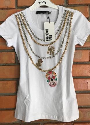 Белая футболка/женская белая футболка/футболка москино/футболка стразы