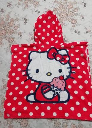 Полотенце с капюшоном пончо hello kitty sanrio2