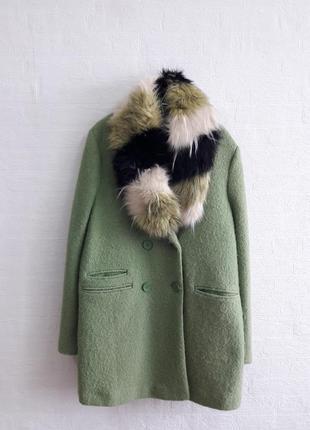 Стильное шерстяное пальто с меховым воротничком, бренда next,подойдет на 52,54 р.