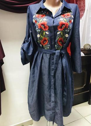 Стильное джинсовое платье рубашка с вышивкой вышиванка