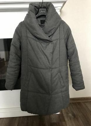 Зимняя куртка парка пуховик одеяло  из серого волокна шерсть