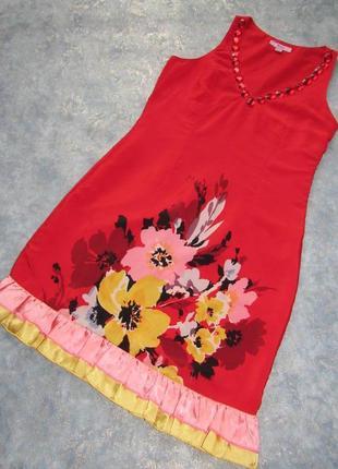 Яркое красное платье приталенного силуэта от moonsoon р.12 l. тренд сезона!