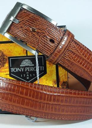 Кожаный ремень tony perotti 09 (италия) с тиснением под рептилию