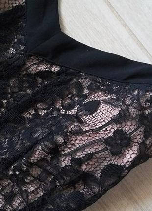 Нарядное красивое платье с кружевом шифоновым низом на тонких бретелях р. s m4