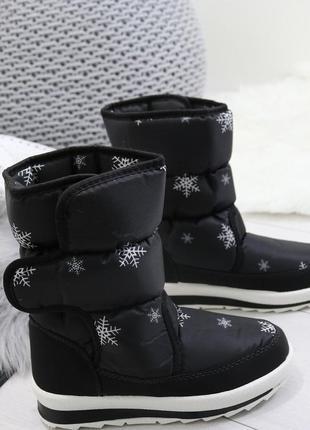 Новые черные зимние сапоги дутики размер 38,39,40