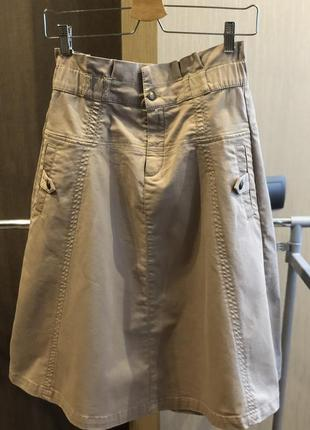 Бежевая плотная юбка massimo dutti