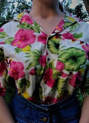 Свободная винтажная рубашка в стиле hawaii