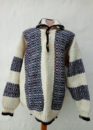 Теплый вязаный натуральный шерстяной мужской джемпер ручная работа,свитер,кэжуал,этно.