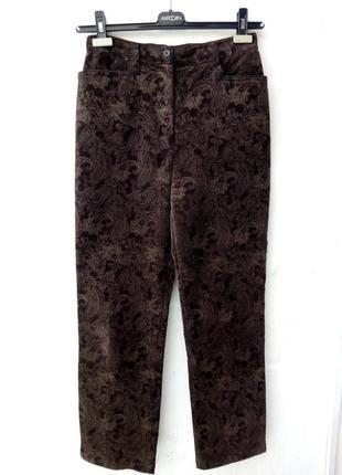 Красивые шоколадные вельветовые брюки момы в принт,высокая посадка,кэжуал,классические.