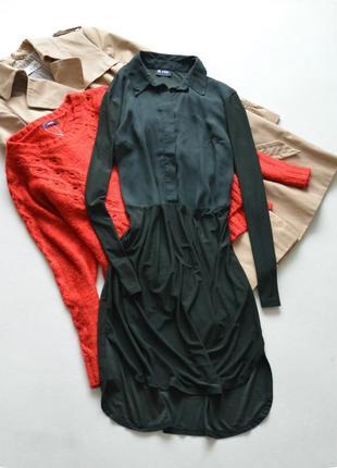 Платье-рубашка цвета хаки