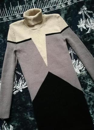 Базовое теплое зимнее платье миди
