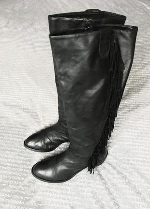 Сапоги черные кожаные ковбойские казаки высокие каблук с бахромой купить цена