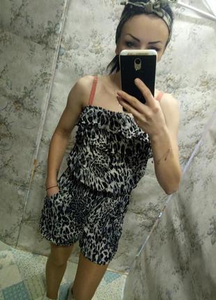 Леопардовый комбинезон,  летний