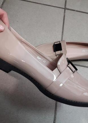 41 42 43 туфли лоферы женские деми баталы низкий ход жіночі туфлі