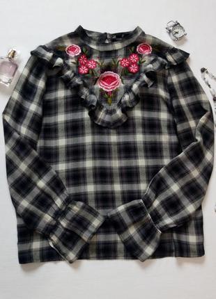 Шикарная блуза в клетку с вышивкой и оборками, подойдет на l-xl