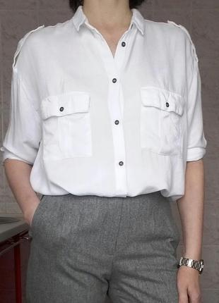 Блуза базовая белая из вискозы mango