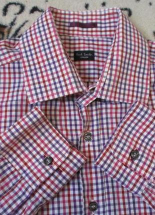 Стильная рубашка в клеточку/красно-синюю/длинный рукав