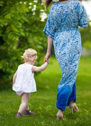 Нарядное длинное синее платье oysho