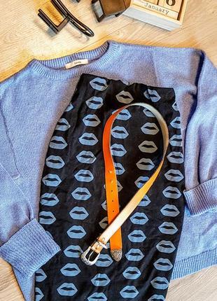 Шикарный кожаный оранжевый пояс ремень с красивой пряжкой