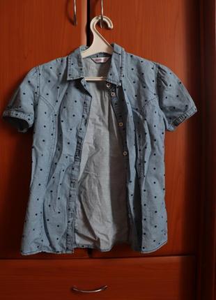 Рубашка джинсовая в горошек для девочки