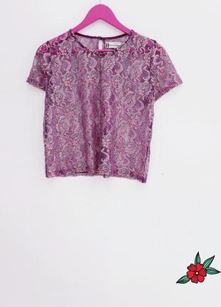 Ажурная футболка сирень круживная футболка состояние новой вещи
