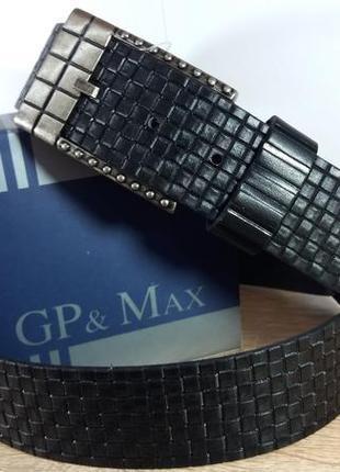 Джинсовый кожаный ремень gp&max (италия)