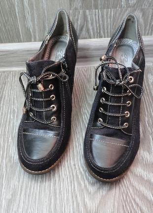 Закрытые туфли, ботинки демисезон, черные, шнуровка, устойчивый каблук, 37р