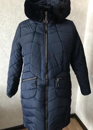 Зимнее пальто с мехом , большие размеры