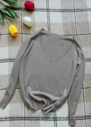 Кашемировый свитер шелк+кашемир бежевого цвета