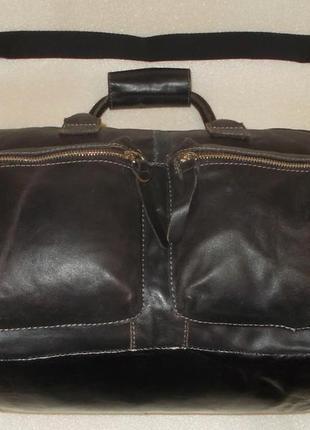 Большая брутальная мужская сумка натуральная кожа4 фото