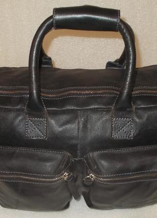 Большая брутальная мужская сумка натуральная кожа5 фото