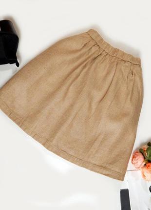 Шикарная брендовая пышная юбка из фактурного льна