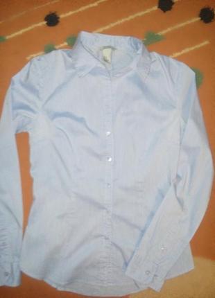 Блуза рубашка h&m голубая