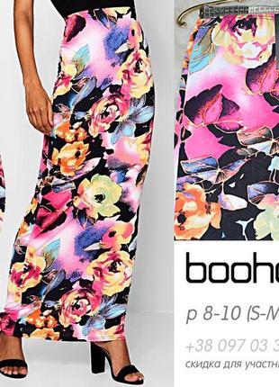 Яркая узкая юбка с цветным принтом, макси, летняя, оригинал boohoo s-m, 8-10, 44-462 фото