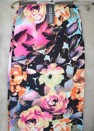 Яркая узкая юбка с цветным принтом, макси, летняя, оригинал boohoo s-m, 8-10, 44-463 фото