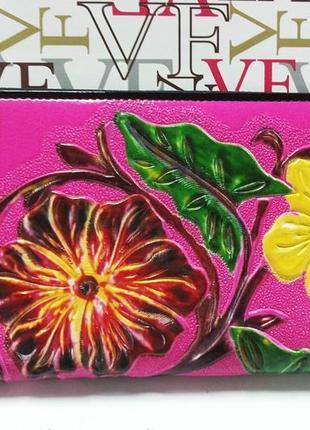 Кошелек кожаный женский цветы на молнии разовый