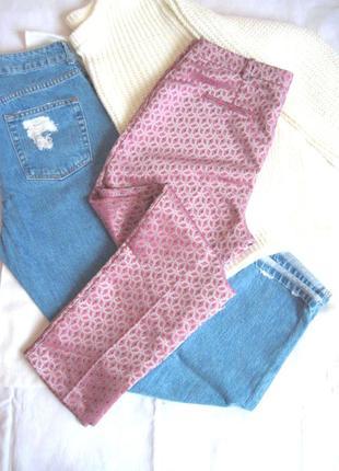 Жаккардовые брюки-дудочки с завышенной талией topshop