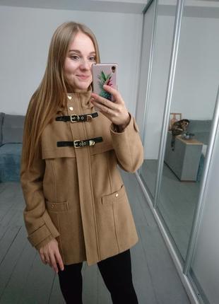 Бежевое пальто дафлкот №30