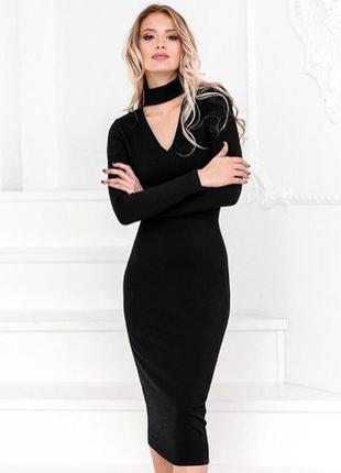 Натуральное платье с чокером , платье миди2 фото
