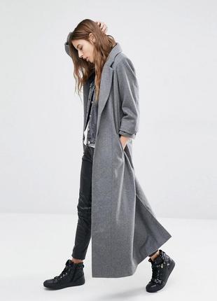 Шерстяное пальто в пол стального цвета mos mosh