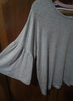 Футболка с рукавом-клеш 3/4 серый меланж medium