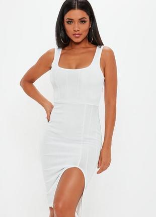 Идеальное облегающее бандажное белое платье миди в рубчик открытая спина missguided
