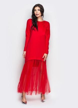 Платье с фатином вечернее платье с фатином и небольшим шлейфом