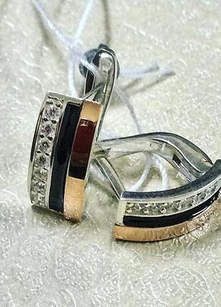 Серебро+золото серьги «эмма»