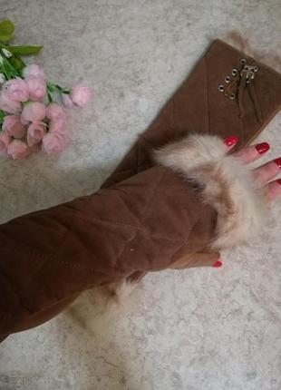 Кожаные высокие перчатки митенки