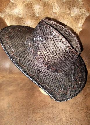 Шляпа-ковбойка маскарадная блестящая цена снижена